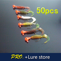 Wholesale a cm grubs matched g jig head for lure kits soft curly tail worm baits fishing lure kit with hooks