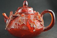 amber pot - Chinese Old Collectibles Handwork Amber Carving The Eight Immortals Big Tea Pot