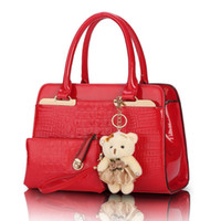 alligator toys - 2 bags set with bear toy European and American fashion casual alligator pattern handbag patent PU leather shoulder bag