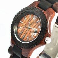 antique vintage display case - Fashion Os Dandon Men Vine Watches Wooden Analog Wrist Watch Black Bezel Case Men Watch Calendar Display
