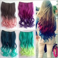Wholesale 1PC Five Clips Curly Synthetic Hair Extension Highlight Clip In Hair Extensions Colors G Two Tone Hair Piece
