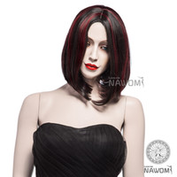 Wholesale Short Straight Black And Red Wigs fashion women high temperature matte silk synthetic wigs Free wig cap