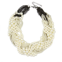 chunky jewelry - Women Handmade Chunky Pearl Necklace Fashion Rhinestones Knitting Collar Chokers Necklaces Statement Jewelry Dress Bijoux CE2726