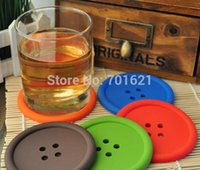 Wholesale fedex or DHL round silicone coasters cute button coasters Cup mat