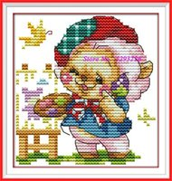 Wholesale Free Ship CT CT DMC Cross Stitch DIY Cross Stitch Kit Embroidery for Home Decor Needlework The happy baby bear