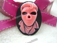 Wholesale Skull Cameo Cabochon - Wholesale-Free shipping wholesale fashion 40*30mm Mixed Skull Man Resin cameo resin Cabochon for DIY decoration 20pcs lot