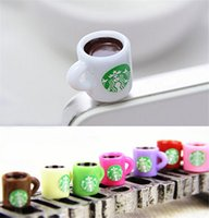 al por mayor starbucks cell plugs-Starbucks Café 3.5mm auriculares Jack Plugs Coffe taza de teléfono celular Plugin Diseño creativo para iPhone 6s 6s más Samsung DCBH32