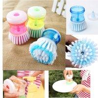 dish detergent - Kitchen Cleaning Brush With Detergent Liqiud Container Wash Dish Bowl Pot Scrubber Convennient Cleaner Hot Sale