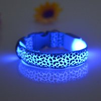 Wholesale 10pcs Pet Dog LED Collar Glow Cat Collars Flashing Nylon Light Up Training Collar for dogs Colors Sizes Pet Supplies Dog