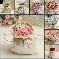 brocade - Italian Style Wedding Favor Candy Gift Bags Silk Brocade Pouch With Flower Bouquets For Wedding Favours Table Decoration Supplies
