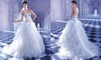 demetrios wedding dress - 2015 Crystals Beading Demetrios Wedding Dresses A Line Sweetheart Sequins Tiered Tulle Sweep Train Lace Up Luxury Winter Bridal Gown