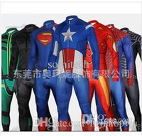 america s game - Spiderman Superman Iron Man Captain America Bike riding clothes super hero cosplay carniva costume men halloween High quality