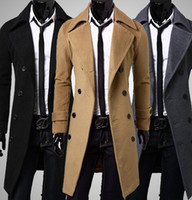 Wholesale Newest Slim Double Breasted Trench Coat Solid Color Lapel Collar Long Sleeve European Style Colors Men s Leisure Trench Coats P65