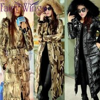 Wholesale Hot Sale New Winter Down Coat Women Faux Fur Hood Jacket Camouflage Fashion Maxi Long Slim Down Wadded Thick Parka Outerwear Plus Size