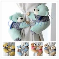Wholesale 1 Pair Baby Bedroom Plush Bear Curtain Tieback Holder Hook Buckle Cartoon Home Office Decors