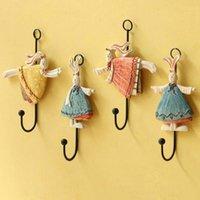 Wholesale Creative home coat hat hook ladybugs and Daisy resin wall hook Robe Hooks flower art decoration