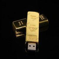 Wholesale Gold bar GB GB GB Metal USB Flash Memory Drives Pen Drives USB Flash Drive Card Memory Stick Drives Pendrive Iron box