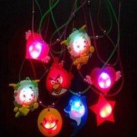 Wholesale 100pcs Multi Cartoon Design Flashing Necklaces LED Glowing Pendent Necklets Children s Festival Gifts Favors L453