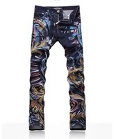 fabric painting - New Hot COOL hot men s jeans men s jeans dennim fabric tide painted D printing Jeans don t fade Slim Jeans