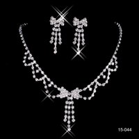 bling jewelry - Mini Bow Cheap Bling Bridal Jewelry Accessories Crystal Necklace Earrings Silver Bridesmaid Women s Prom Party Evening Wedding Sets