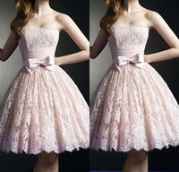 ballerina prom dress - Ballerina Party Dresses Short Cute Lace Pink Knee Length Prom Homecoming Gowns A Line Sash Bandage Girls Special Occasion Skirt