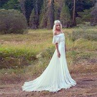 Wholesale 2015 Bohemian Wedding Dresses A Line Chiffon Cheap Hippie Bridal Dress Cream Ivory Off The Shoulder Lace Trim Wedding Gown