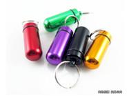 pill bottles - DHL mm Mini Aluminum Waterproof micro Pills Box Case Bottle Holder Container Keychain Keyring In stock
