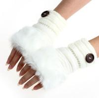 Wholesale Amaizng Fashion Winter Knitted Faux Fur Fingerless Gloves Women Wrist Soft Warm Mitten