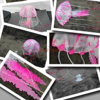 Wholesale Harmless Jellyfish Ornament Glowing Effect Fish Tank Decoration Aquarium Pink Color PC