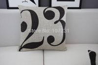 artistic number - Square Vintage Retro cm Vintage Linen Couple Cushion Case The Number Artistic Letter Printed Cover Home Decor