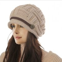 Wholesale Winter female Ear Cap Hats Korean Fashion Belt Button Wool Hat Lady Knit Crochet Hat For Feminina