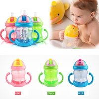 Wholesale Hot ml Cute Baby Cup Kids Children Learn Feeding Drinking Water Straw Handle Bottle mamadeira Sippy Training Cup Colors