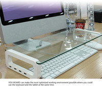 1 pcs monitor stand - Tempered Glass Monitor Stand Shelf USB Multiboard for your PC iMac and iPhone Built in Port USB Hub waitingyou