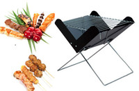 Wholesale Outdoor Portable BBQ Grill Black Foldable Charcoal Grill Barbecue Camping Picnic Indoor Mini X bbq Stove For Person