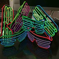 Vente en gros Mode el glasses El Wire Neon LED 2 couleurs Light glowing Obturateur Forme activé par la voix / lunettes simples Rave Costume Party gift