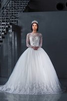 Wholesale Bateau neckline Ball Gown Long Sleeve Lace Wedding Dresses Winter Lace Beaded Luxury Bridal Gown