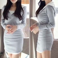 Wholesale Fashion Brand Autumn Winter Hoodie dresses Women Korean Style Casual Slim Hooded Mini dress Sport Party one piece dress