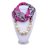 animal print leopard necklace - Sexy Leopard Print Voile Scarves with White Pearl Stones Scarfs Pendant Women Scarf Necklace Fashion Winter Jewelry Accessories SC150134