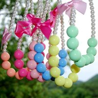 Wholesale Hot Kids candy colors pearl Necklace With Bowknot baby girl kids Princess ribbon bow Baby necklace Accessories