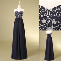 Wholesale 2015 Cheap In Stock Floor Length Evening Dresses Chiffon Sweetheart Neckline Embroidery Beads Sequins Lace Up Back Long Party Prom Gowns