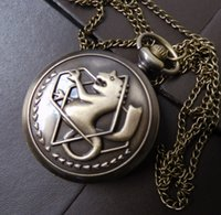 Wholesale New Best Fullmetal Alchemist Edward Elric s Necklace Pocket Watch Cosplay Anime Xmas Gift