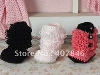 Wholesale Handmade crochet baby snow booties loops design first walker shoes cotton yarn mix design pairs