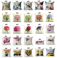 Wholesale New Flower Cushion Covers Floral Tree Birds Pillows Cases Linen Cotton Good Quality Pillowcase Multi Choices