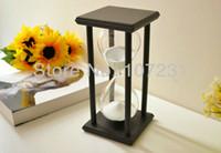 Wholesale X inch Black wooden white sand sandglass Hourglass Timer min decor xmas gift