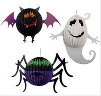 big lantern ghost - Halloween decorative props BIG jack o lantern skull Spider bat ghost skeleton pumpkin lantern for Bar club party kids gift