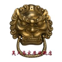 antique brass lion door knocker - Haotian vegetarian antique brass door knocker town house evil beast copper lion head door knocker door handle HTA