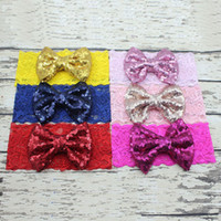 hair bows - Baby Girls Hair Hoops Sequin Bows Headband With Lace Bright Knot Bow Turban Headband In Beautiful Decorative Christmas Headwrap