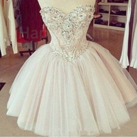 Wholesale 2015 Cheap Sexy Ball Gown Cocktail Dresses Sweetheart Short Mini Lace Crystal Beaded Tulle Plus Size Graduation Formal Party Homecoming Gown