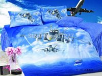 airplane bedding set - Children airplane print blue fantastic bedding bed set pc or pc with quilt cover flat sheet bed linens comforter sets textile