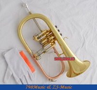 Wholesale Professional New Gold Flugelhorn Abalone Button B Flat Flugel Horn With Case